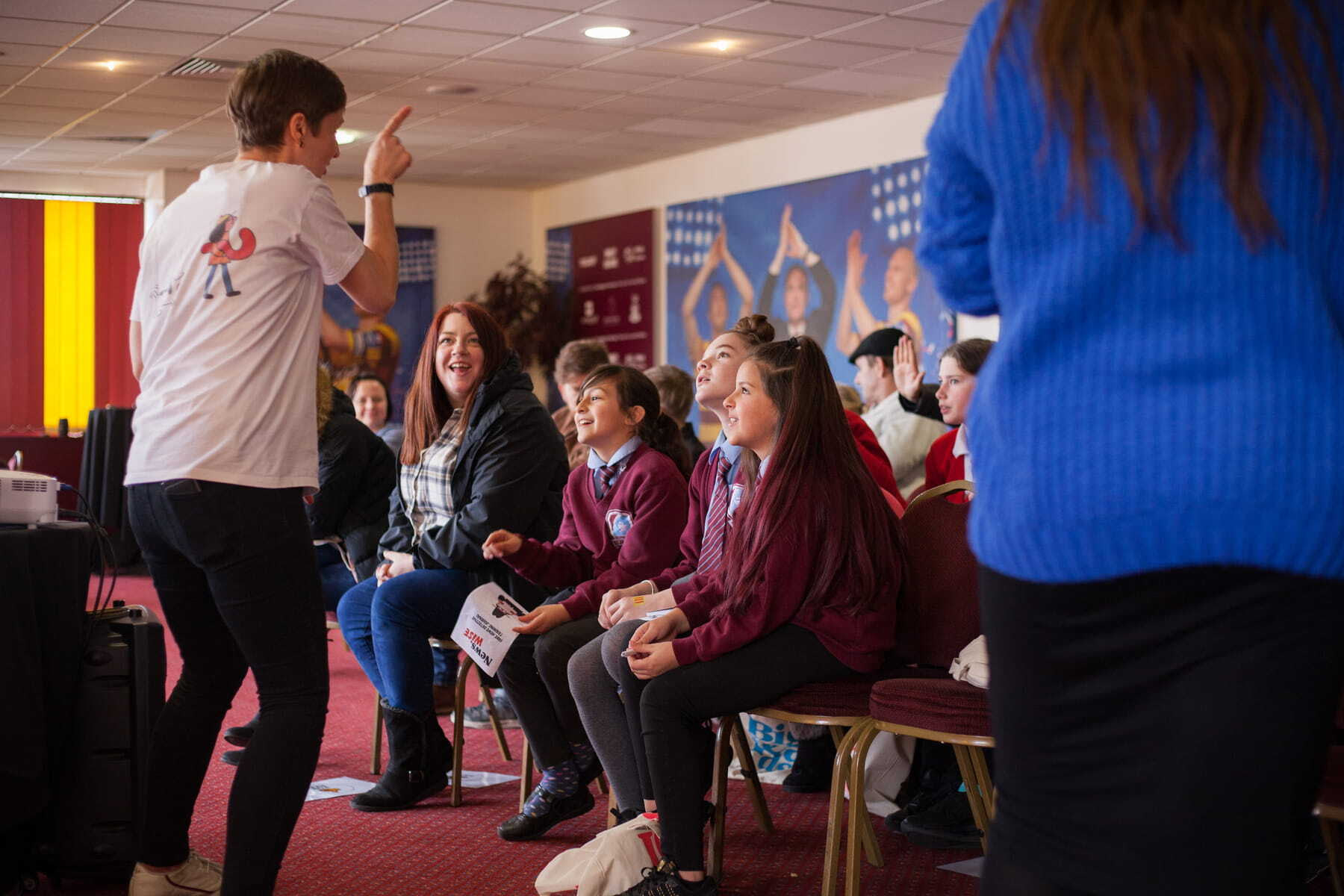 Children and famlies at a NewsWise workshop at Bradford Football Club